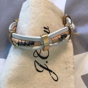 J Crew leather gold and beaded cuff